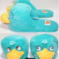 Licensed cool Disney PERRY PLATYPUS Phineas & Ferb ADULT Slippers PLUSH HOUSE SHOES S-XL NEW