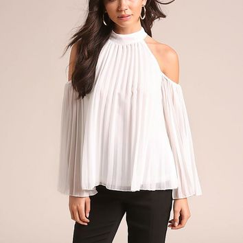 Pleated Cold Shoulder White Blouse