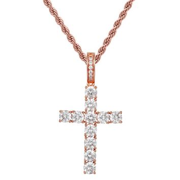 14k Rose Gold Finish Solitaire Cross Pendant Tennis Chain