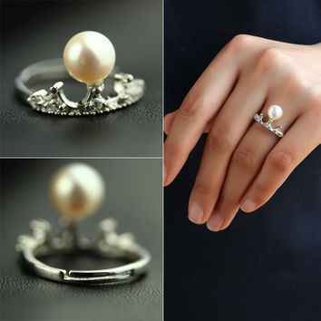 Stylish New Arrival Jewelry Shiny Gift Pearls 925 Silver Strong Character Accessory Ring [4989676612]