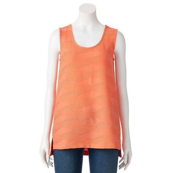 ESB7GX Dana Buchman Textured High-Low Scoopneck Top - Women's Size