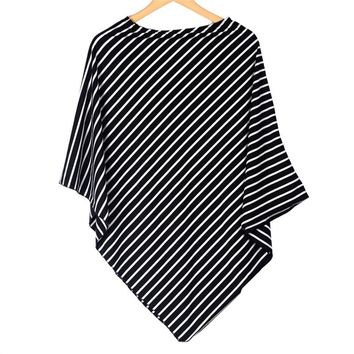 Nursing Breastfeeding Black and White Stripe Stretchy Shawl | Cover Car Seat | Nursing Cover