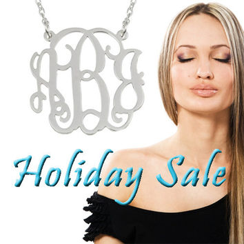 Silver Monogram Necklace -1.25 Inch Personalized Pendant - 925 Sterling Silver Christmas Gift
