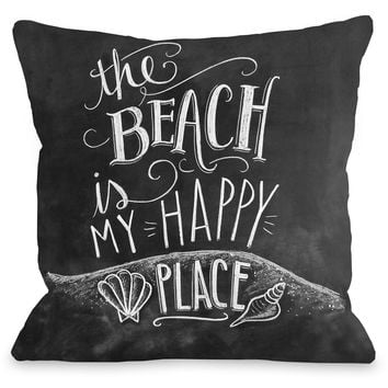 """The Beach Is My Happy Place"" Outdoor Throw Pillow by Lily & Val, 16""x16"""