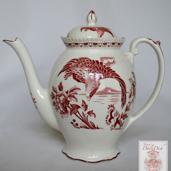 Vintage Red Aesthetic Chinoiserie English Transferware tall Teapot Aquila Eagle in Flight Oriental Flowers Woods