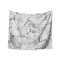 "Kess Original ""White Marble"" Gray White Wall Tapestry"