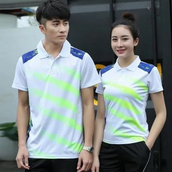 Sports Quick Dry breathable badminton shirt,Women Men table tennis team running golf training graffiti Print White Polo T Shirts