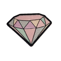 Diamond - Gemstone Embroidered Patch / Iron-On Applique - Pastel