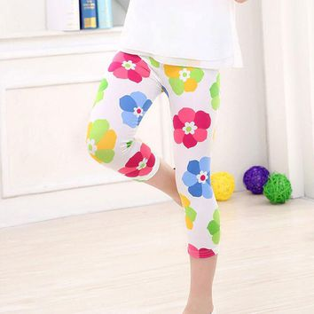 Pink Green Blue Floral Leggings Calf Length