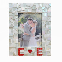 Personalized Mosaic Picture Frame -- Wedding, Valentines, Love