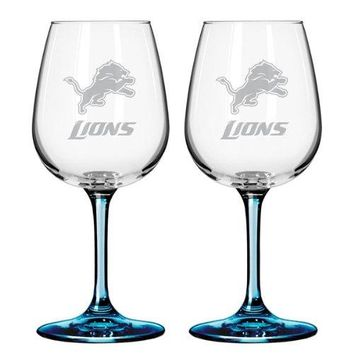 Detroit Lions 12 oz. Satin Etch Wine Glass with Colored Stem and Base 2-Pack