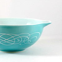 Pyrex Aqua Blue Scroll Promotional Bowl