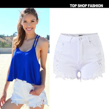 ONETOW Sexy Women Girl Summer High Waist Ripped Hole Wash Denim Jeans Shorts Pants = 4721855044