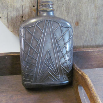 Antique Flask Bottle Mercury Glass Bottle Antique Whiskey Bottle Liquor Flask Owens Illinois Glass Company Rare Flask Bottles