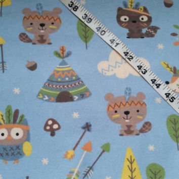 Flannel kids fabric beaver fox raccoon teepee arrows Indians cotton print quilt sewing material sew crafting project decor  by the yard BTY