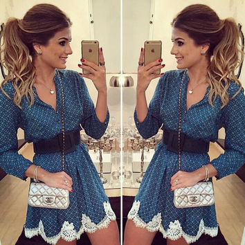 Long Sleeve Lace Check Dress Gift-214