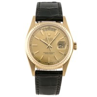 Rolex Oyster Perpetual Day-Date Mens Watch Yellow Gold Gold Dial Auto 18038