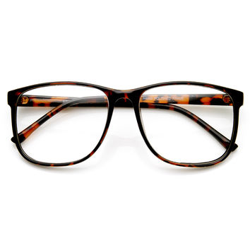 Large Classic Geek Fashion Clear Lens Horn Rimmed Eye Glasses