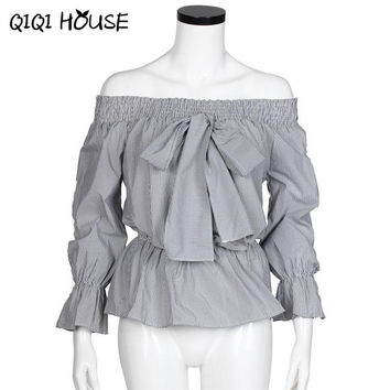 Ladies Office Shirts Off Shoulder Striped Bow Cute Tops Long Sleeve Elegant Blouse Casual Shirt Chemise Femme Manche Long#C822 SM6