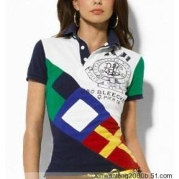 Beauty Ticks Ralph Lauren Women Colorful Pony Stripe Polo Wrlsp005