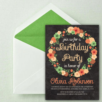 Instant Download-Chalkboard Floral Wreath Mod Flowers DIY Printable Birthday Party Baby Girl Shower Wedding Invitation Template