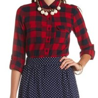 Long Sleeve Plaid Flannel Button-Up Top - Red Combo