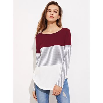 Striped Cut And Sew Curved Hem Tee Multicolor