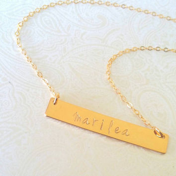 Personalized Gold Bar Name Necklace-Gift for Bestfriend, Gift for Sister