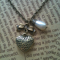 Fly to your heart teardrop pearl pendant by Victorianstudio