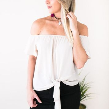 Solo Tie Front Off the Shoulder Top