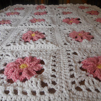 Pretty in Pink - Perfect Pink Crochet Flower Baby Blanket