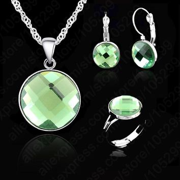 JEXXI Elegant AAA Crystal Wedding Engagement Gift Set, Silver With White Silver Necklace Earring Ring Jewelry