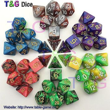 Promotion Top Quality 7pcs Dice Set with Nebula effect poker d&d d4 d6 d8 d10 d12 d20 Polyhedral Dice rpg game dice gift toy