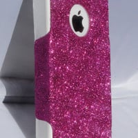 Custom Glitter Case Otterbox for iPhone 4/4S Raspberry/White