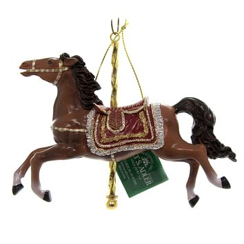 Holiday Ornaments CAROUSEL ANIMAL Red Silver Gold Saddle C8523 Brown Horse