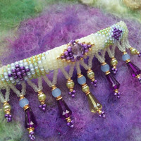 Hair Barrette with Beaded Fringe by GratefulBeads on Etsy
