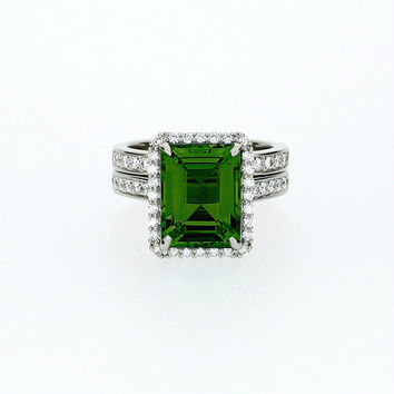 Emerald cut Green tourmaline halo engagement ring set, white gold, diamond engagement,  Green tourmaline, tourmaline halo, wedding ring set,