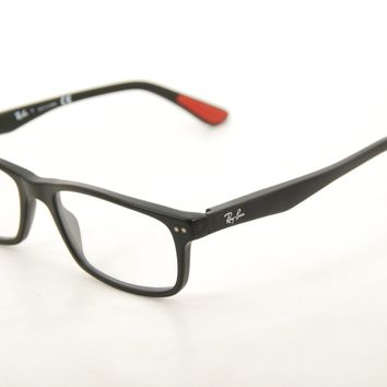 New Authentic Ray Ban RB 5277 2077 Matte Black/Red 52mm Frames Eyeglasses RX