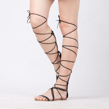 Sandals Lace Up Sexy Knee High Gladiator Tie String Flat Sandals