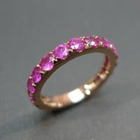 Pink Sapphire Wedding Band Ring In 18K Rose Gold | Luulla