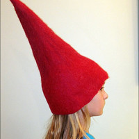 Red Wool Hat, Red Wool Gnome Hat