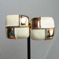 Signed Givenchy Ivory Enamel Gold Tone BIG Square Vintage Earrings