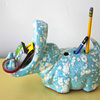 $16.00 1960s hippo pen / supply holder by napkinitems on Etsy
