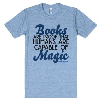Books Are Magic-Unisex Athletic Blue T-Shirt