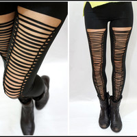 Sandysshop — Black Corset Braid Ripped Leggings