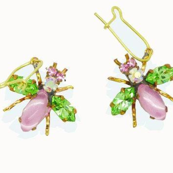 Czech Glass Rhinestone Fly Earrings, Pink Body and Mint Green Wings, Pierced style earrings