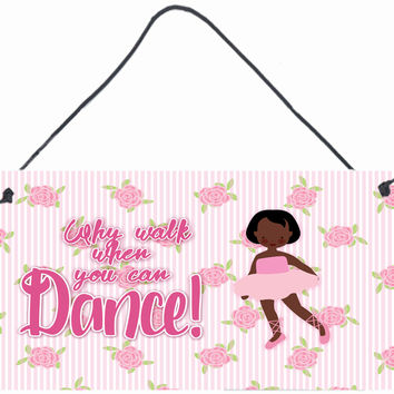 Ballet African American Short Hair Wall or Door Hanging Prints BB5384DS812