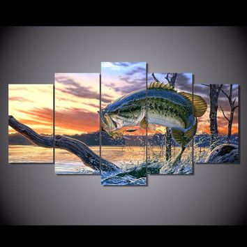 5 Pieces/set Carp Jumping Painting Print Canvas Wall Art Picture for Sofa Background Decoration for Living Room