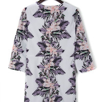Multicolor Floral Leaves Print 3/4 Sleeve Shift Dress