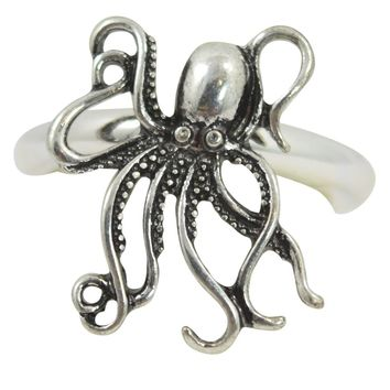 Steampunk Kraken Octopus Sea Life Fashion Ring